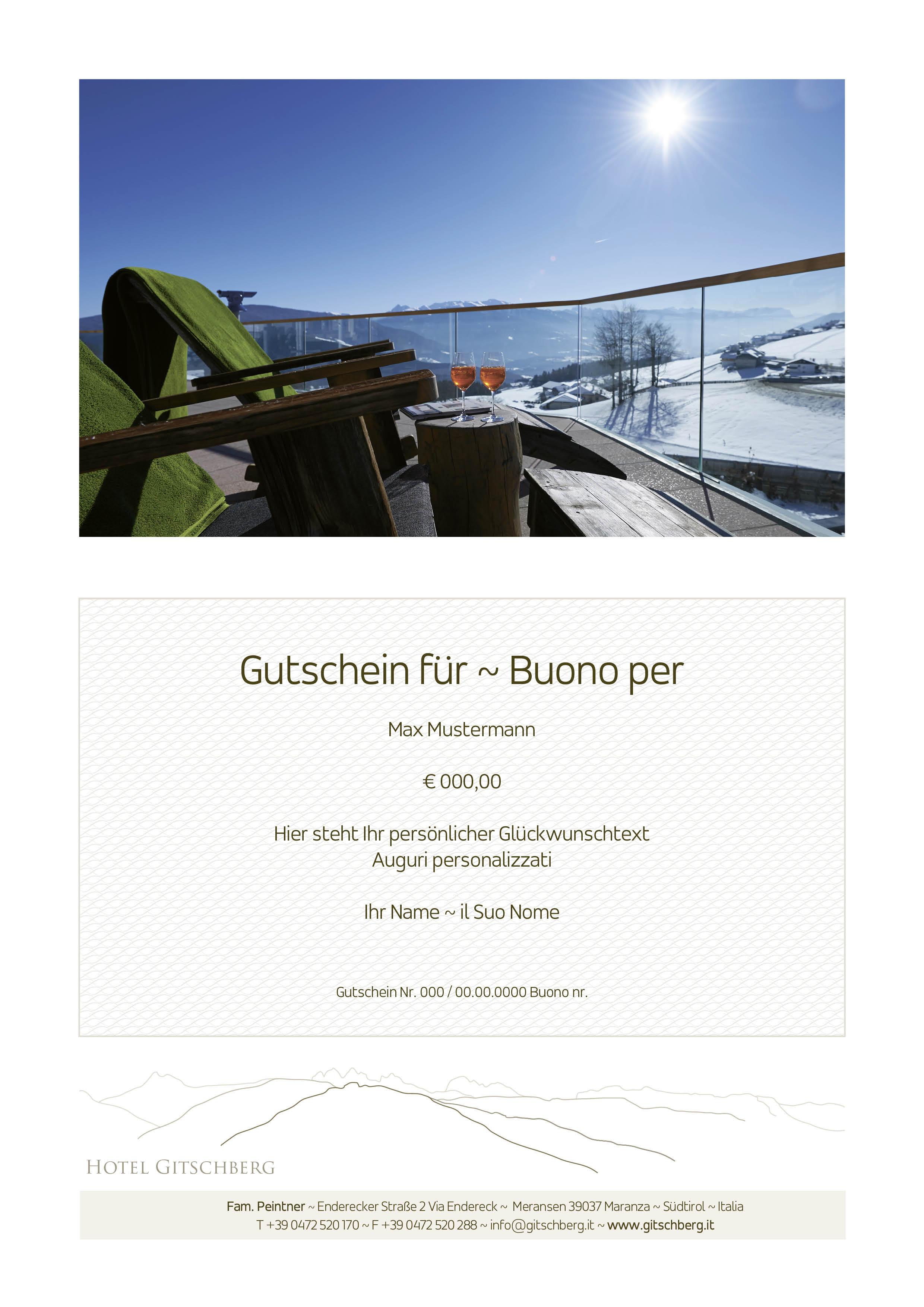 Ein Gitschberg Geschenk - Hotel Gutschein Südtirol